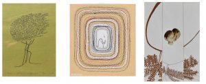 Le opere di Maria Lai presenti nella nostra collezione: da sinistra, La leggenda del naufrago, Disegno di Maria Diana (7 anni), e Composizione