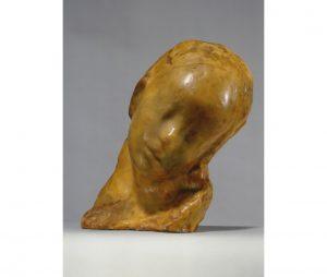 """Medardo Rosso (Torino 1858 – Milano 1928), Bambino malato (Enfant malade) Cera di cm 25,2 x 23 x 18, post 1913. Iscrizione sul retro in basso """"A Tilde Favai"""" e dietro """"A Tilde_Milano"""""""