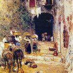 """I soggetti preferiti del pittore laziale Aurelio Tiratelli sono stati sopratutto le scene di vita agreste nella campagna. """"Tempo di Vendemmia"""" è il manifesto del cromatismo scintillante che l'artista romano estrae dalla sua brillante tavolozza. Tecnica: Olio su tela"""
