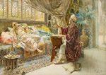 Il pittore Ettore Simonetti fu uno dei più competenti artisti orientalisti italiani che lavorò soprattutto con l'acquarello. Stoffe damascate, sete, oggetti in ottone, in ceramica che raccoglieva per inventare scene vibranti, ben descritte e tecnicamente perfette come questa opera.Tecnica: Acquarello su carta, 56 x 84,5 cm