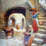 Scipione Simoni, pittore romano, ritrae uno spaccato della medievale e scoscesa Palestrina con una tipica scalinata dove sale una donna abbigliata con colori esuberanti e in testa la tavola del pane. In piena luce il retrostante cortile. Tecnica: Acquarello su carta